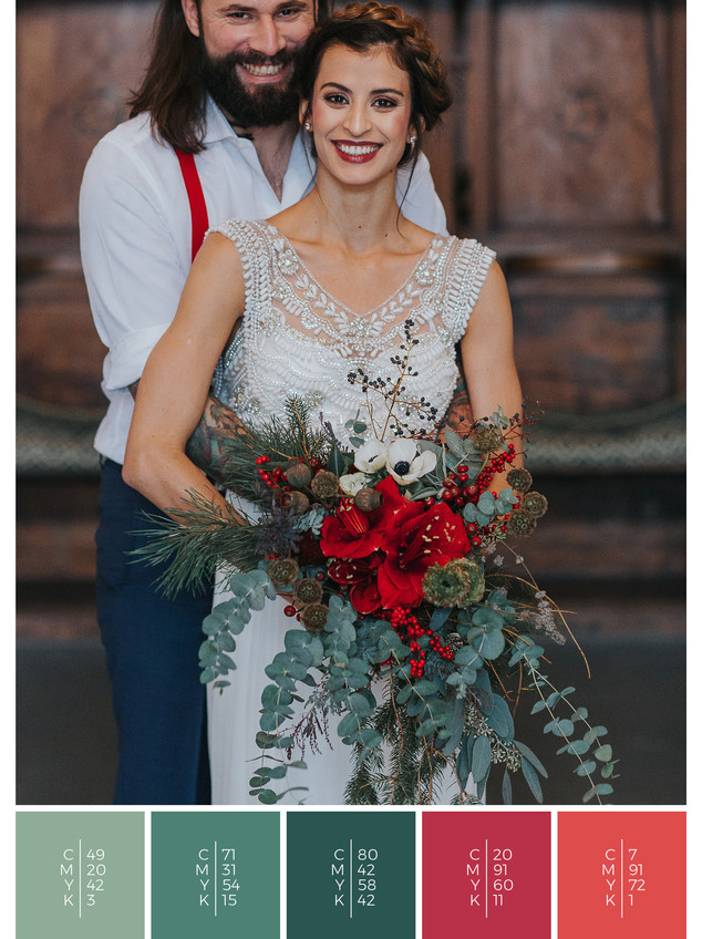 "The bridal bouquet of the wedding mood board ""Christmas Classics"" has a color scheme palette in shades of red and green."
