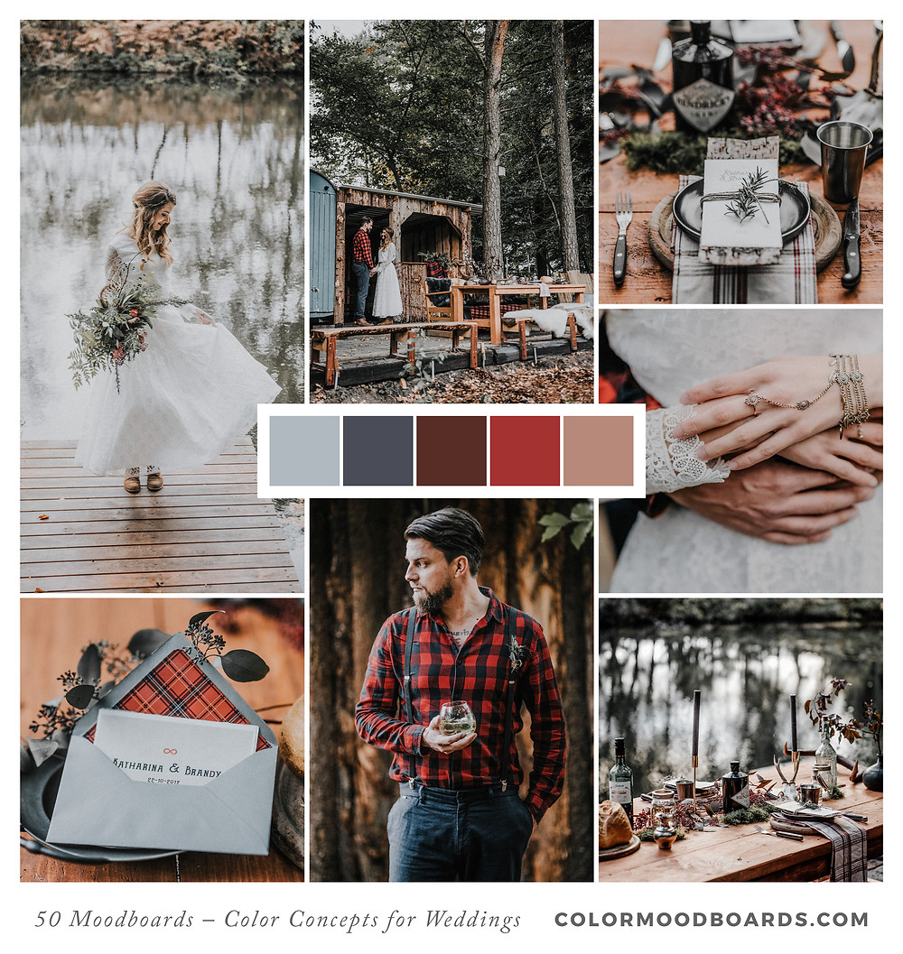 A mood board as wedding inspiration for flowers, decoration & invitation which uses a color palette of red and gray.