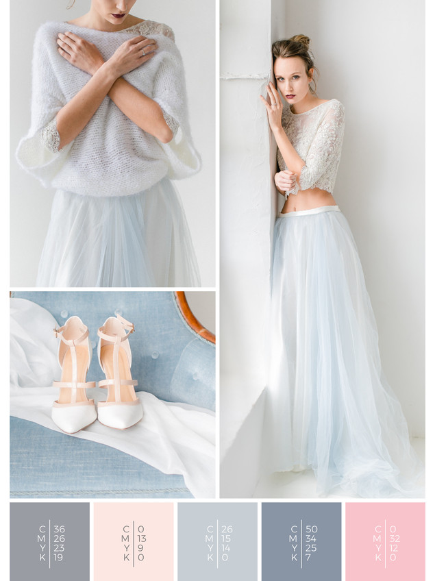 This wedding dress for a wedding at home fits perfectly to a minimalist wedding style in shades of gray, blue and blush.