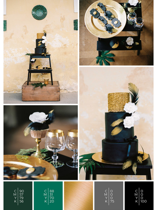 "The sweet table of the wedding mood board ""Love is Love"" fits to a color scheme palette in shades of green, gold and black."