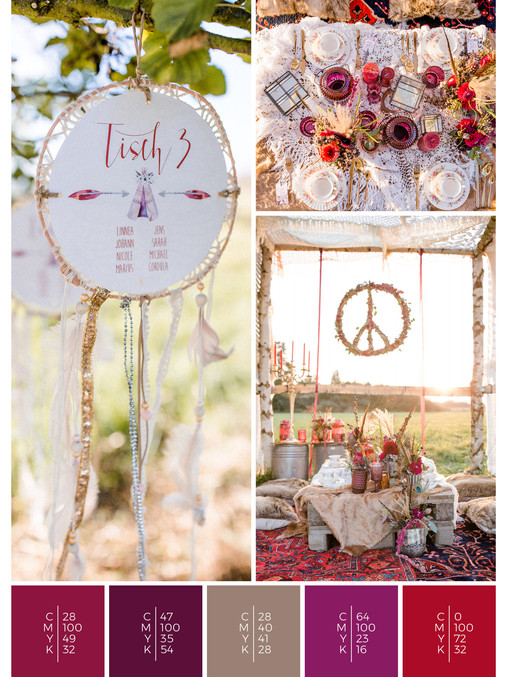 """This wedding decoration of the wedding mood board """"Indian Summer"""" has a color scheme palette in shades of red, pink and puprle."""