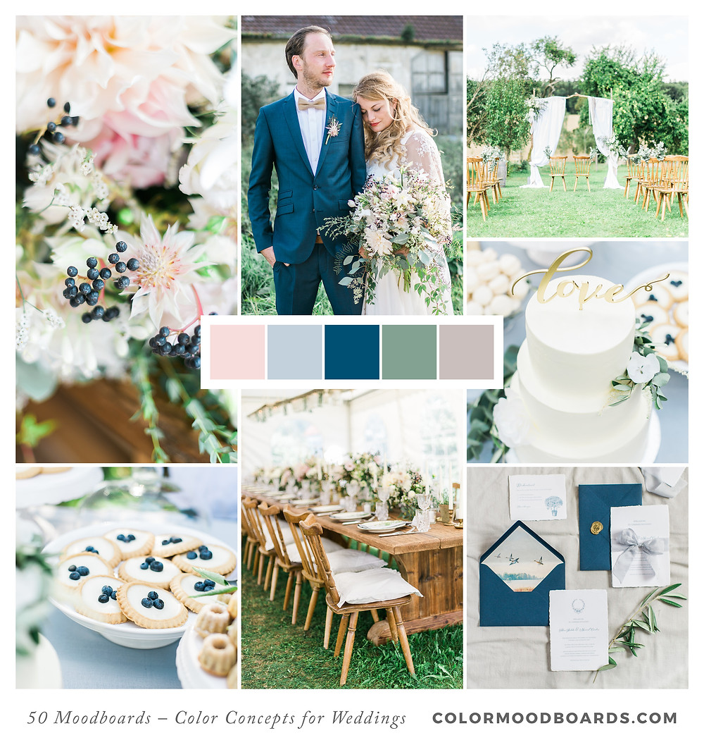 A mood board as wedding inspiration for flowers, decoration & invitation which uses a color palette of blue and blush.