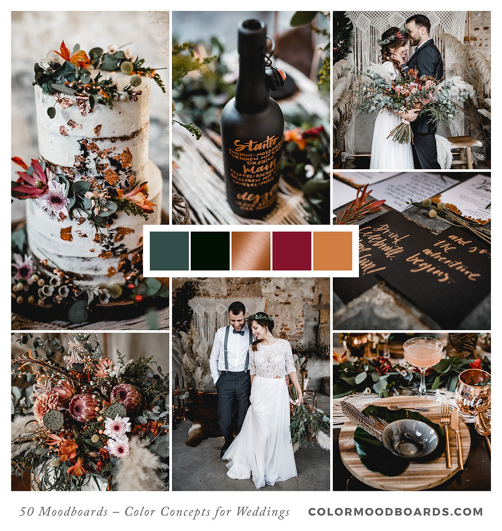 A mood board as wedding inspiration for flowers, decoration & invitation which uses a color palette of orange, red and black.
