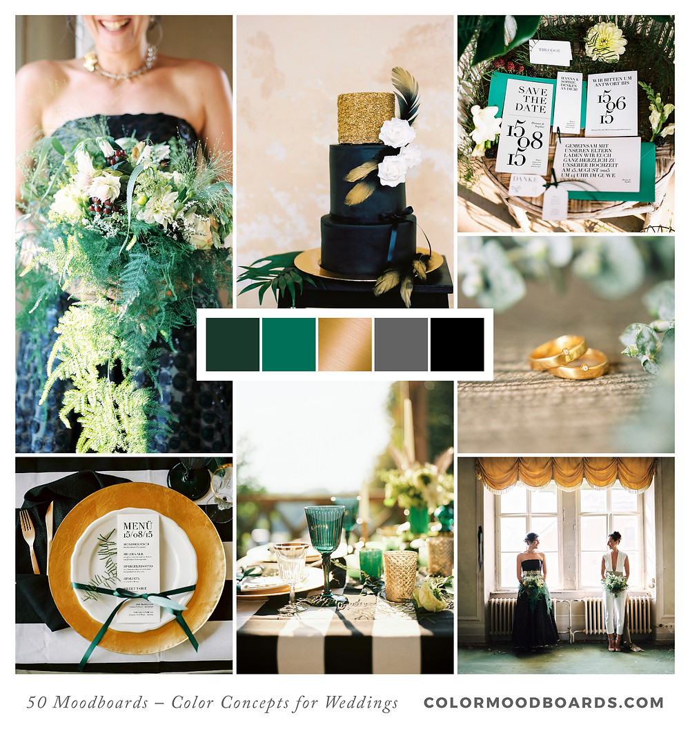 A mood board as wedding inspiration for flowers, decoration & invitation which uses a color palette of green, gold and black.