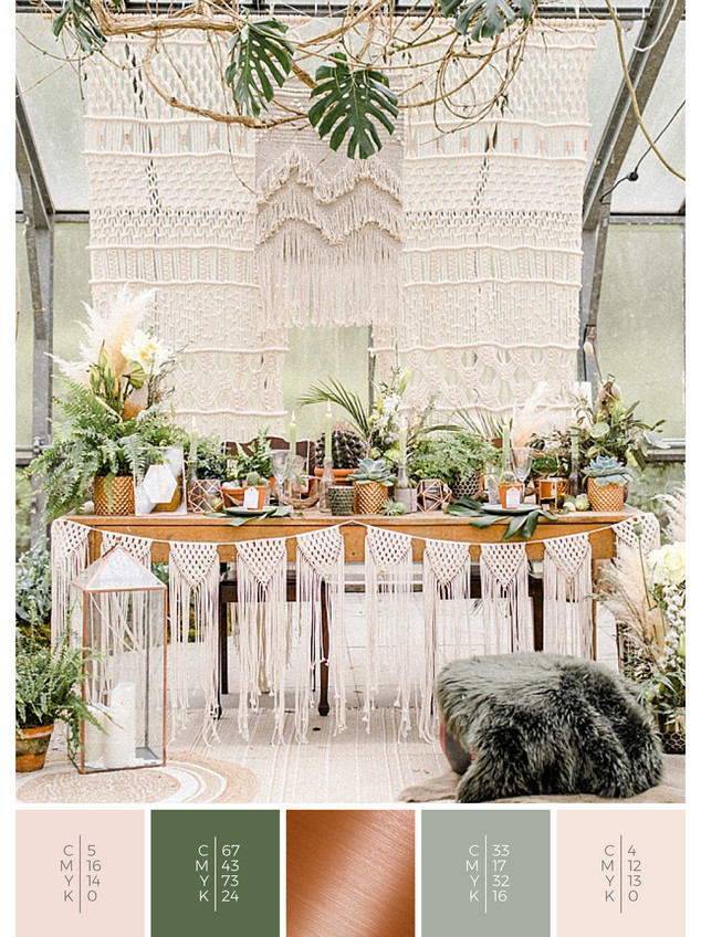 "This wedding table decoration of the wedding mood board ""Urban Jungle"" has a color scheme palette in shades of green, blush and copper."