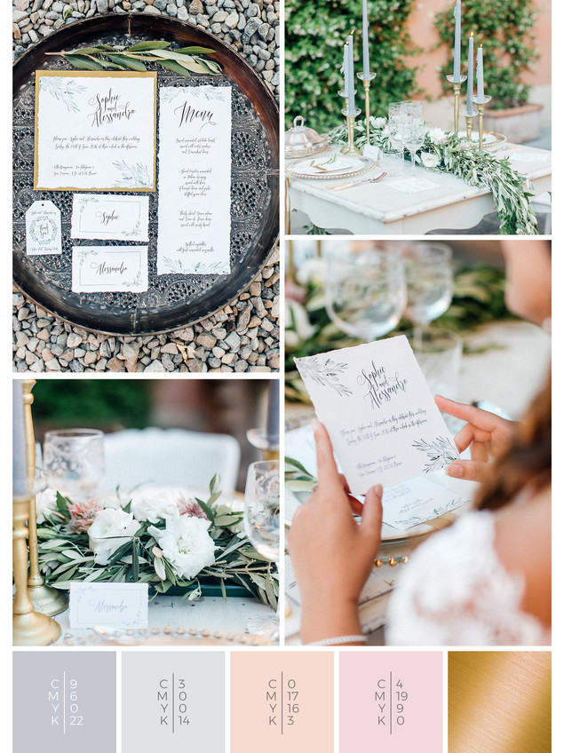 This wedding stationery for an Italian wedding fits perfectly to an olive themed wedding style in shades of gray, white and blush.
