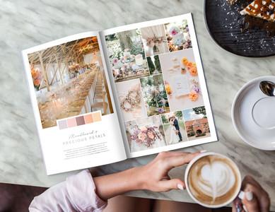 "The wedding moodboard ""Precious Petals"" printed in the wedding guide ""50 Moodboards – Color Concepts for Weddings""."