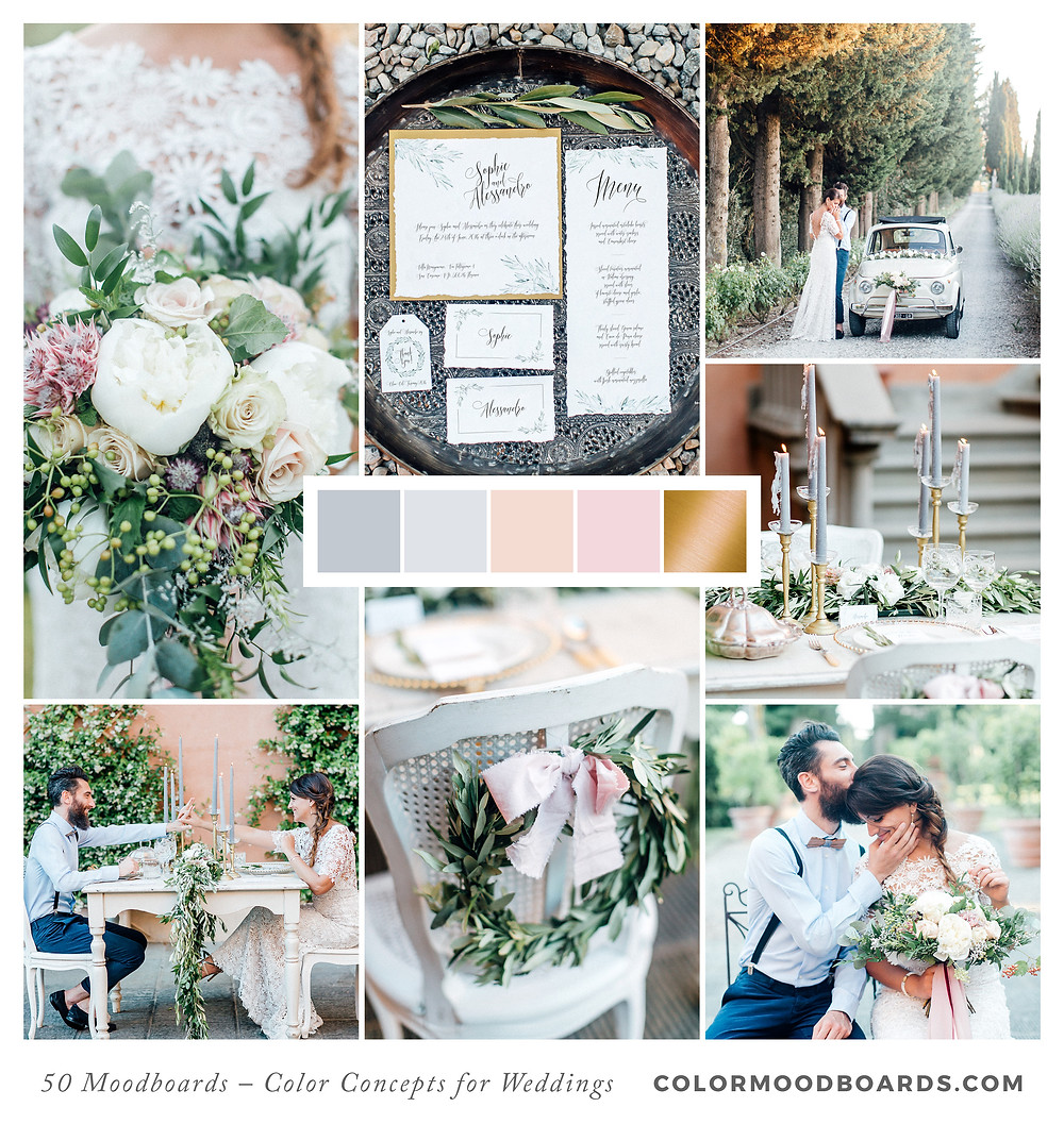 A mood board as wedding inspiration for flowers, decoration & invitation which uses a color palette of gray, white and blush.