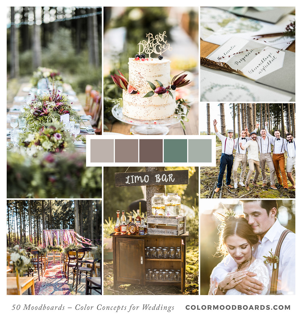 A mood board as wedding inspiration for flowers, decoration & invitation which uses a color palette of violet, red and pink.
