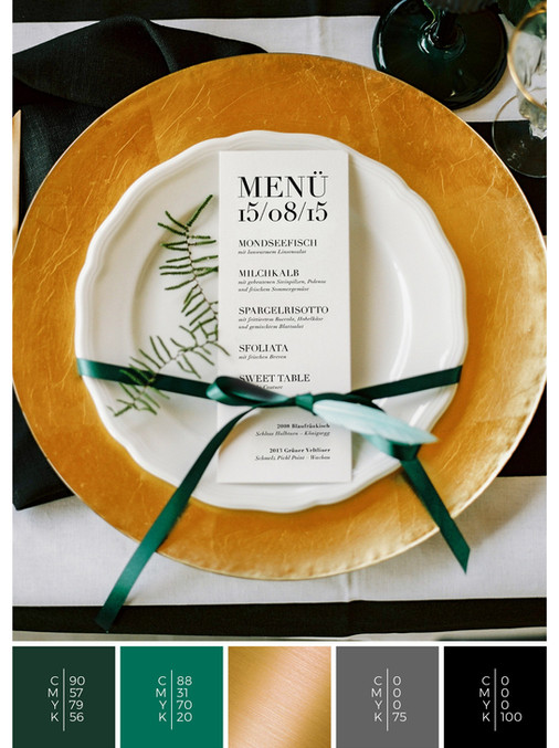 This wedding menu card for an Austrian wedding fits perfectly to a clean wedding style in shades of green, gold and black.