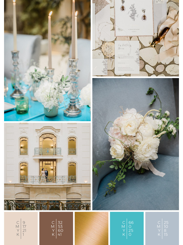 """The bridal bouquet of the wedding mood board """"Golden Glamour"""" has a color scheme palette in shades of turquoise and gray."""