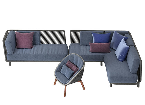 Wicker Sofa Set 01 | 3dmodel