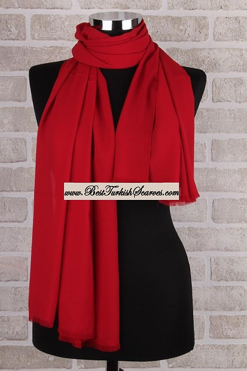 Lux Crepe Shawl/Scarf/Neck Wrap-Red