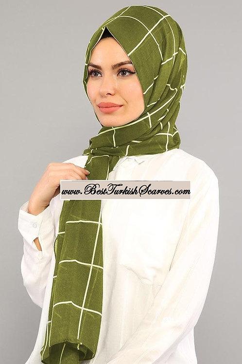 Isra checker cotton shawl/hijab-Green