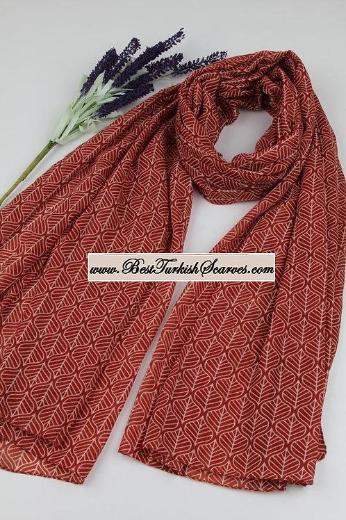 Isra leaf design cotton shawl/hijab-Brick