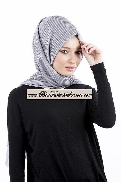 Isra Pleated Hijab/Shawl/Scarf-Grey