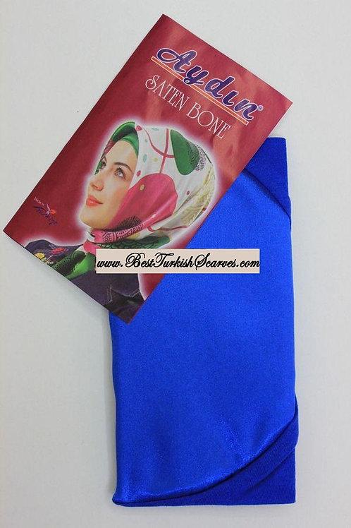 Satin bonnet/hijab cap-Saks blue