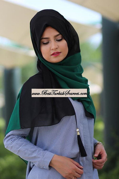 Two Colors Stitched Chiffon Shawl/Scarf (color:green/black)