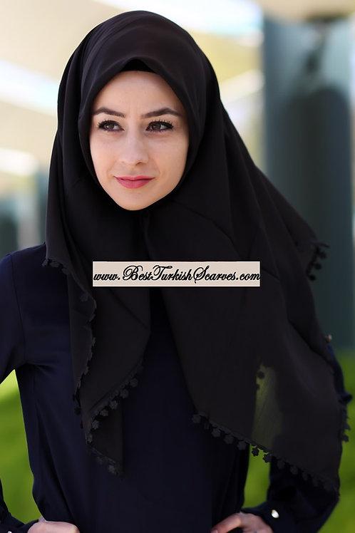 Floral lace cotton hijab/scarf (Traditional Turkish Yemeni-Tulbent)-Black