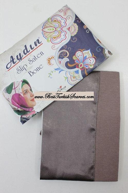 Slip Satin bonnet/hijab cap (underside is cotton)-Mink