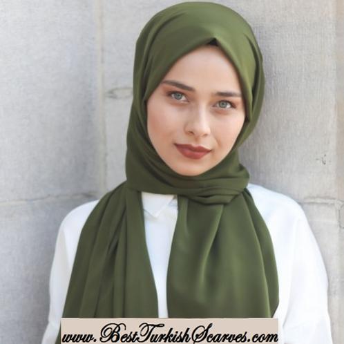 Medina Silk-Chiffon Shawl/Scarf/Neck Wrap-Olive green