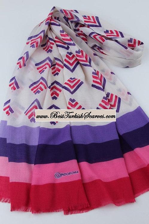 Indoroma motif design shawl/hijab/scarf- Model 1 (purple,pink)