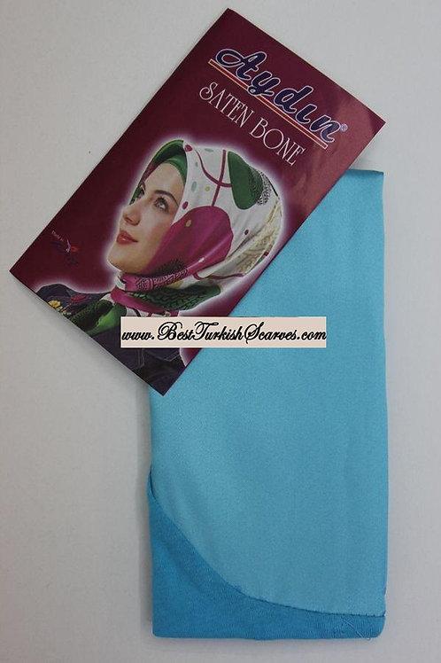 Satin bonnet/hijab cap-Turquoise