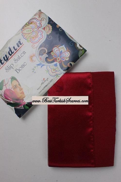 Slip Satin bonnet/hijab cap (underside is cotton)-Red