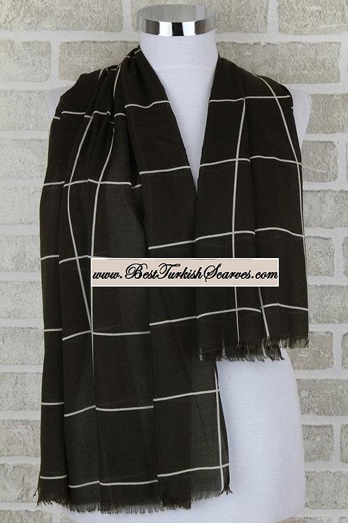 Indoroma checker cotton shawl/hijab-Dark green