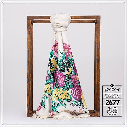 Floral Collection- 2677-SarayBahcesi-Krem