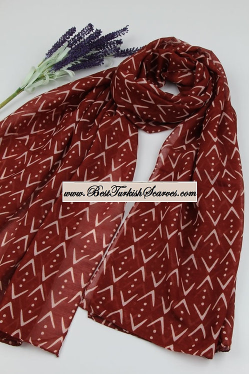 Isra cukur design cotton shawl/hijab-Brick