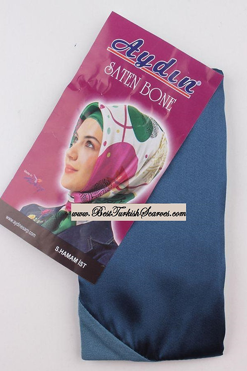 Satin bonnet/hijab cap-Petrol