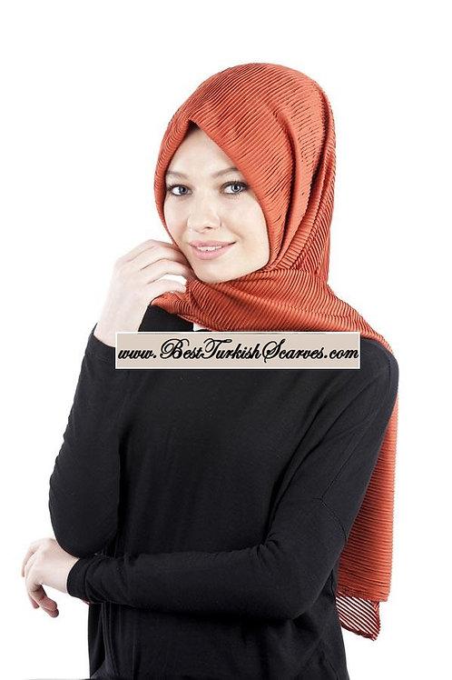 Isra Pleated Hijab/Shawl/Scarf-Brick