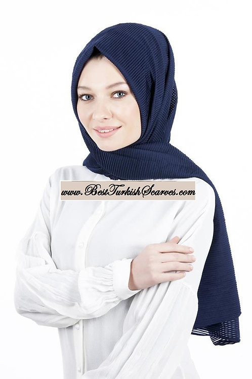 Isra Pleated Hijab/Shawl/Scarf-Navy Blue