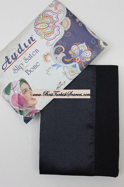 Slip Satin bonnet/hijab cap (underside is cotton)-Navy blue