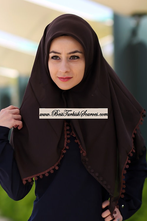 Floral lace cotton hijab/scarf (Traditional Turkish Yemeni-Tulbent)-Brown