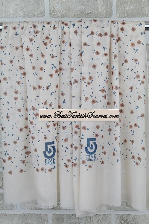 Five 5 floral shawl/hijab- model 4 /beige