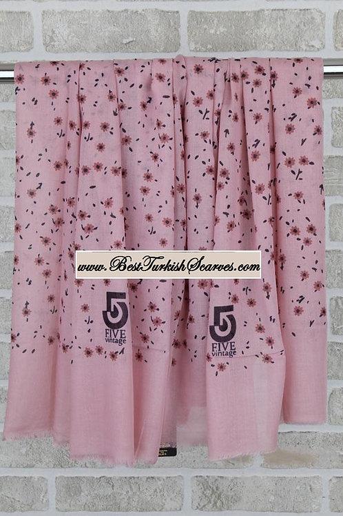 Five 5 floral shawl/hijab- model 5 /pink