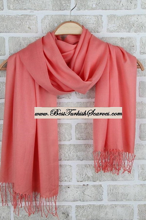 Arnisa plain cotton shawl or neck-wrap/Pomegranate