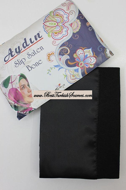 Slip Satin bonnet/hijab cap (underside is cotton)-Black