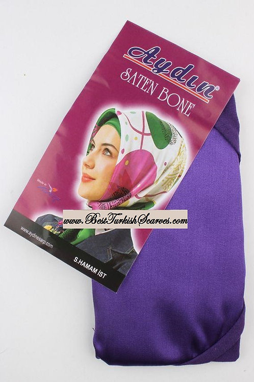 Satin bonnet/hijab cap-Purple