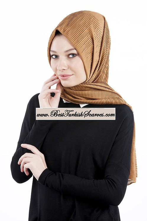 Isra Pleated Hijab/Shawl/Scarf-Brown