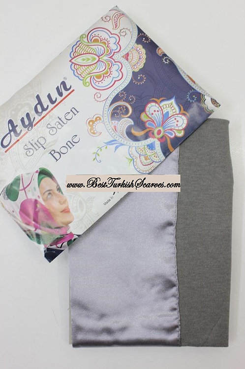Slip Satin bonnet/hijab cap (underside is cotton)-Grey