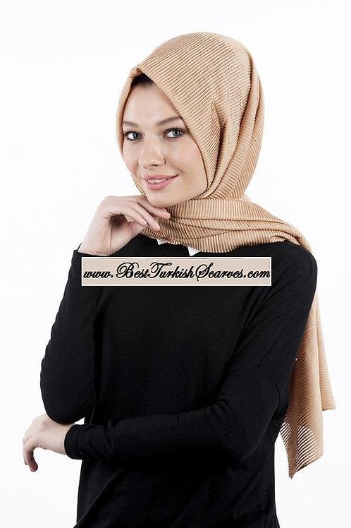 Isra Pleated Hijab/Shawl/Scarf-Beige