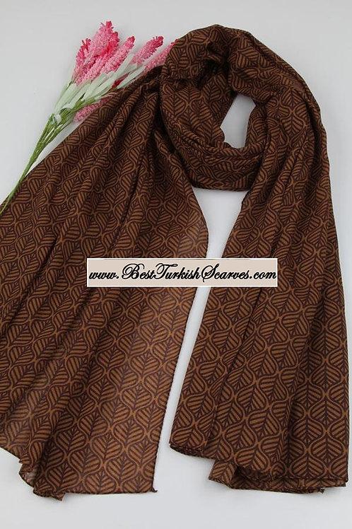 Isra leaf design cotton shawl/hijab-Brown