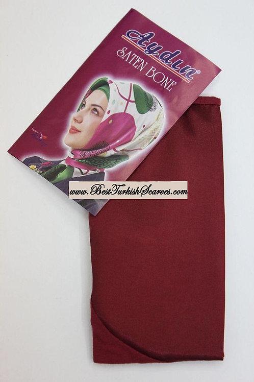 Satin bonnet/hijab cap-Burgundy