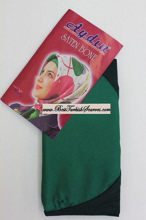 Satin bonnet/hijab cap-Emerald green
