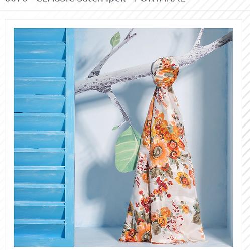 Floral Collection-6676/Saten Ipek-Portakal