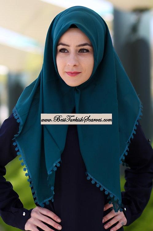 Floral lace cotton hijab/scarf (Traditional Turkish Yemeni-Tulbent)-Petrol