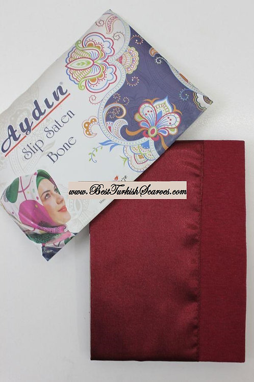 Slip Satin bonnet/hijab cap (underside is cotton)-Burgundy